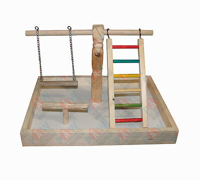Bird Play Gym Toy Wooden with Swing, Ladder and Perch Medium Parrots Birds