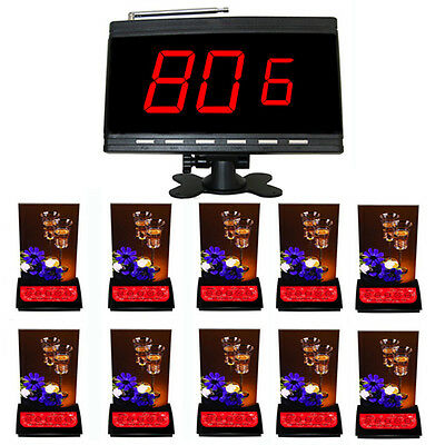 SINGCALL Wireless Call Systems 10 5-buttons Restaurant Table Bells,1 Receiver