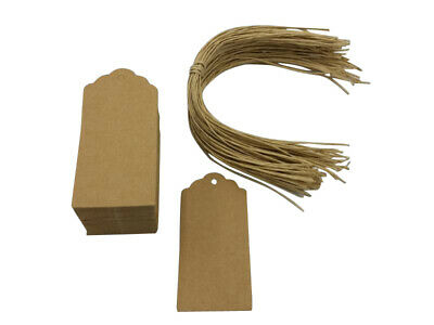 100 x Rectangle - Natural Kraft Gift Tags - Twisted Paper Tie - 9.5 x 4.5cm