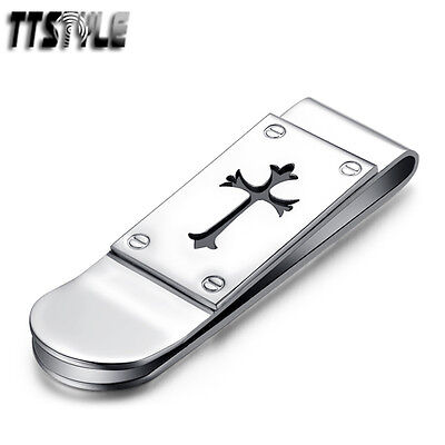 Top Quality TTstyle 316L Stainless Steel Cross Money Clip NEW
