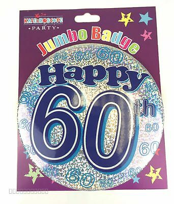 Happy 60th Birthday Badge Age 60 Jumbo Large Mens Blue Party Accessory Pin Gift