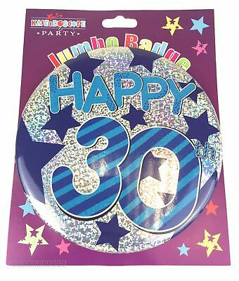 Happy 30th Birthday Badge Age 30 Jumbo Large Mens Blue Party Accessory Pin Gift