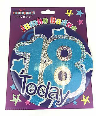 Happy 18th Birthday Badge Age 18 Jumbo Large Boys Mens Blue Party Accessory Gift
