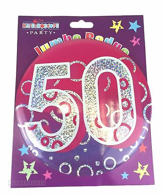 Happy 50th Birthday Badge Age 50 Jumbo Large Ladies Pink Party Accessory Gift