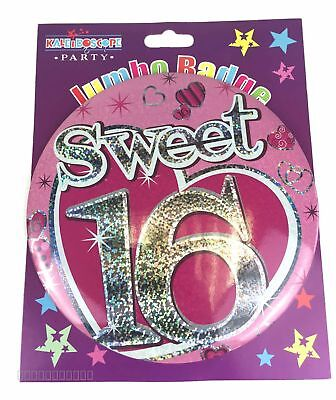 Sweet 16th Birthday Badge Age Large Jumbo Girls Heart Pink Party Accessory Gifts