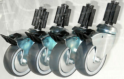 """Heavy Duty Braked Catering Castors w/ Expander Fittings, 4-Pack (75-125MM/3-5"""")"""