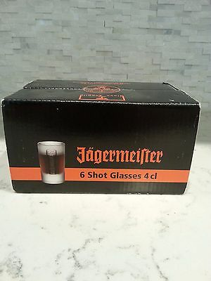 Jagermeister 6 Shot Glass Set, 4 cl NEW, In the Box, Jager