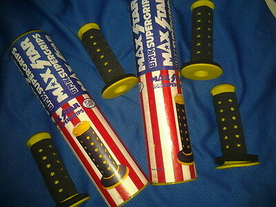 2 PAIRS IN BOXES BMX old school 80'90s MAX STAR yellow / black SUPER GRIPS