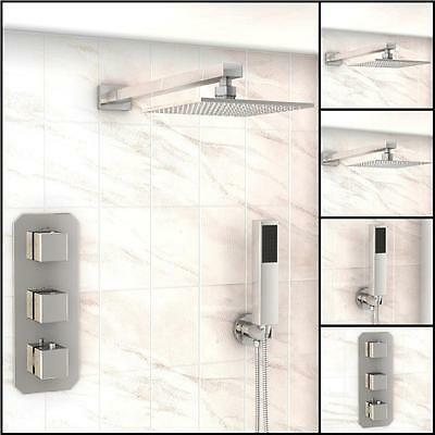 Bathroom Concealed Twin Head Square Thermostatic Shower Valve Taps Mixer Chrome