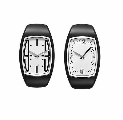 Quartz Wall Clock Stylish with White Face Black Frame & Silver Hands for Homes