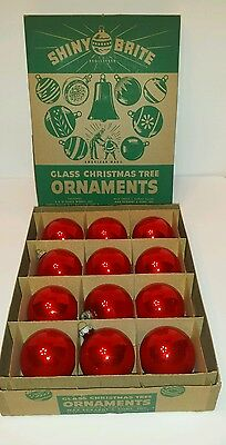Lot of 12 Vintage Shiny Brite Glass Red Glass Ornaments With Original Box
