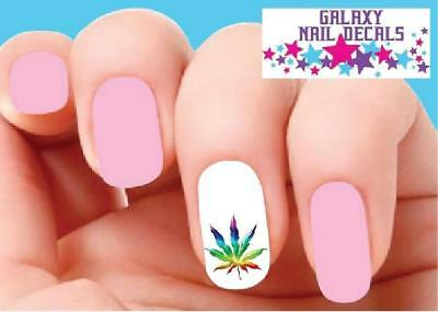 Waterslide Nail Decals - Set of 20 Colorful Cannabis Pot Marijuana Leaf
