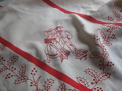ANTIQUE/VINTAGE FRENCH LINEN TABLECLOTH- RedWork Embroidery- Red Stripes- Alsace