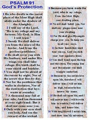 Psalm 91 (NKJ) set of 25 laminated Bookmarks Made by JMJ Gifts