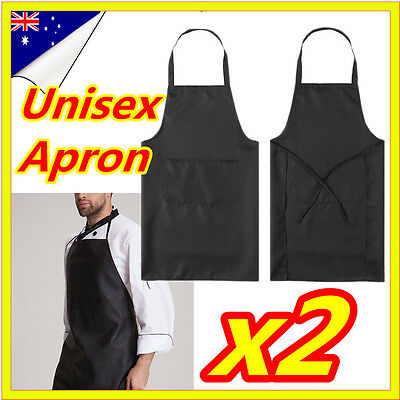 2 Plain Black Apron Craft With Pocket Washable Kitchen Cooking Chefs Butchers