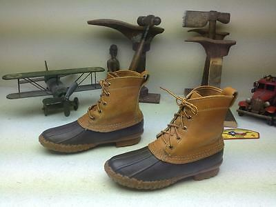 Vintage L.l. Bean Maine Hunting Shoes Brown Leather Lace Up Tumble Duck Boots 7M