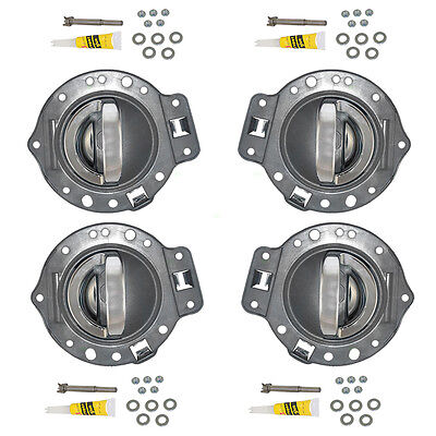 06-10 Commander 4 Pc Set of Inside Chrome Door Handle & Gray Housing Repair Kits