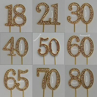 # GOLD Cake Pick Number Toppers Rhinestone Diamante Gems 18 21 30 40 50 60 70 80