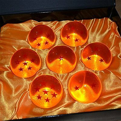 DragonBall Z Stars Crystal Glass Ball 7pcs with Gift Box Large 76mm 7-piece, NEW
