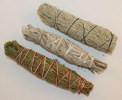 CALIFORNIA WHITE SAGE, CEDAR & BLUE Smudging Sage 4-5 Inch Smudge Bundle 3 Pack