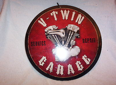 V-Twin Garage, Sales & Service - Knucklehead Motor, Round Metal Sign