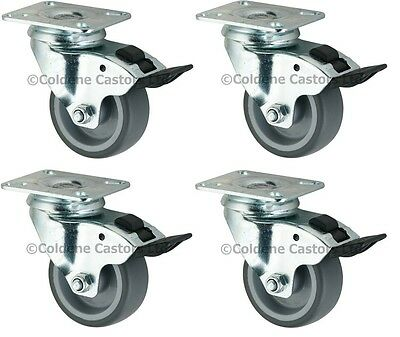 "Catering & Display Braked Rubber Castors, 4-Pack (75-125MM/3-5"")"