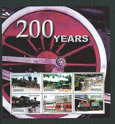 DOMINICA SGMS3395c 2004  STEAM TRAINS SHEETLET  MNH