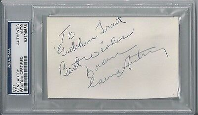 Gene Autry Autographed Signed Psa/Dna Index Card Certified Autographed