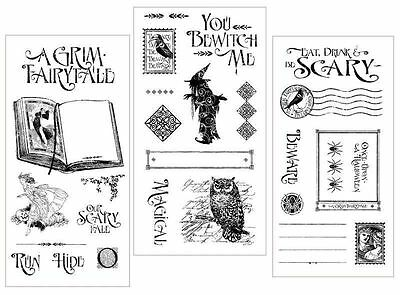 """Graphic 45 """"an Eerie Tale"""" Cling Stamp Set 1, 2 & 3  Halloween Scrapjack's Place"""
