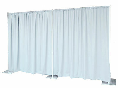 QUICK BACKDROP KIT 8 FT TALL x 20 FT WIDE PIPE AND DRAPE  (WHITE PREMIER DRAPES)
