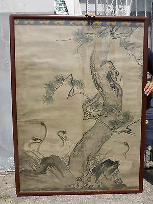 Huge 19Thc Meiji Period Japanese Scroll Painting Of Red Crown Cranes In Frame