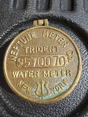 Vintage Miniature Bronze / Brass Neptune Trident Water Meter New York Box