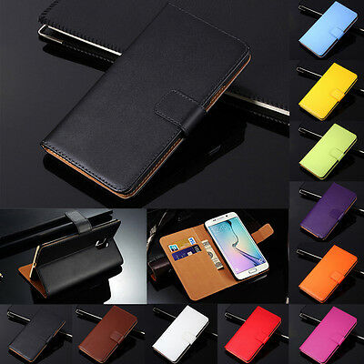 Genuine Leather Flip Wallet Case Cover For Samsung Galaxy S7 S8 S9 Plus Note 8 9