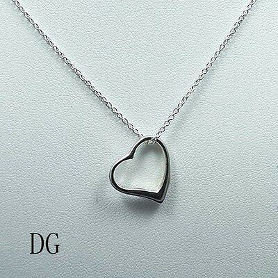 "DG Women's Sterling Silver 925~Italy.Heart Charm Pendant 18"" Chain Necklace +Box"