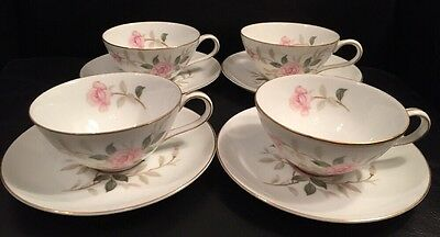 Set of 4 Vintage China by Contour PICARDY Pink Roses Cups & Saucers NM