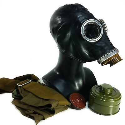 Russian military rubber gas mask GP-5 black. Gothic cyber industrial respirator