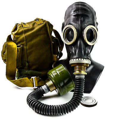 Soviet russian gas mask GP-5 Black rubber with black hose. New full set .