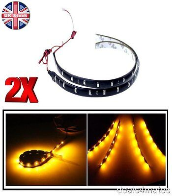 2 X 30Cm 12 Led 3528 Smd Amber Flexible Drl Strip Light Waterproof Car Decor