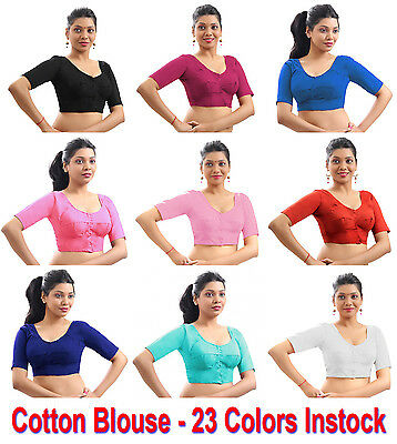 Pure Cotton Blouse Top Shirt Wedding Choli Saree Skirt Bollywood Indian 23Colors