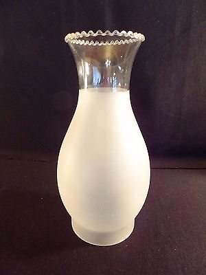 """Vintage Frosted Glass Chimney Shade Scalloped Top  9.5"""" Tall 3.5"""" Fitter"""