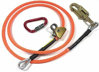 "Climb Right 5/8"" x 12' Steel Core Lanyard Kit Flip line 75243 Swivel Snap Flip"