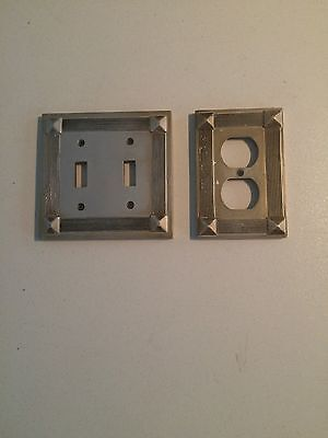 Lot Of 2 Vintage AmerTac Metal light Switch wall plate cover