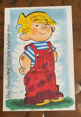 Ron Ferdinand Dennis the Menace sketch signed autographed 4 x 6 index card