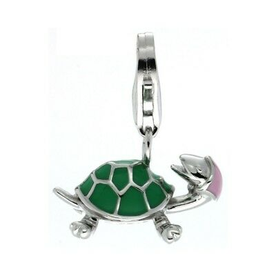 High Polished 925 Sterling Silver Pendant Enamel Green Turtle Charm No Chain