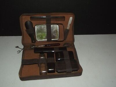 Vintage MEN'S GROOMING TRAVEL LUGGAGE KIT wITH LEATHER CASE & GOOD LUCK CHARMS