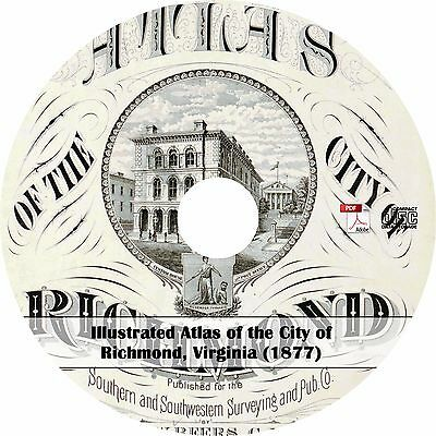 1877 Illustrated Atlas of Richmond, Virginia - Maps Book on CD