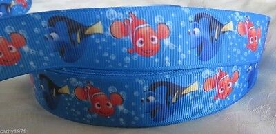 Finding Nemo 7/8 Inch Grossgrain Ribbon - One Metre - Craft or Cake