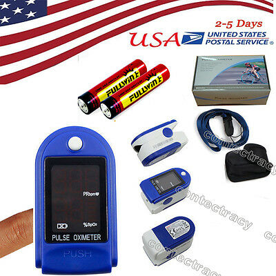 FDA LED Fingertip oxymeter spo2,PR monitor Blood Oxygen Pulse oximeter+bag+rope