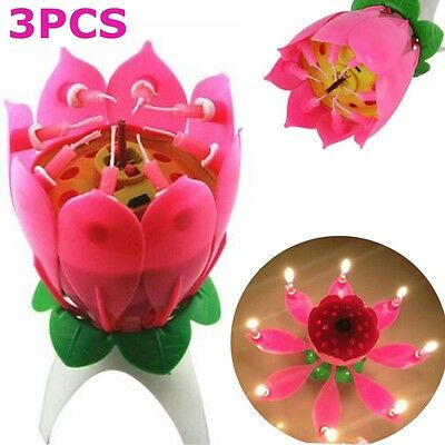 3 x Magic Amazing Romantic Musical Lotus Birthday Party Cake Topper Candle Pink