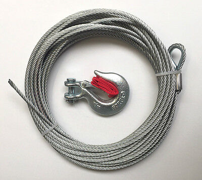 WINCH WIRE ROPE AND HOOK for 3500lb winch 12.2 Metres x 5.5mm utility winch